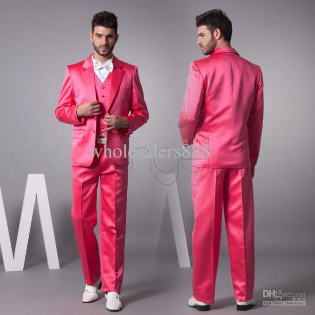 Gray Wedding Suit Hot Pink Vest Online
