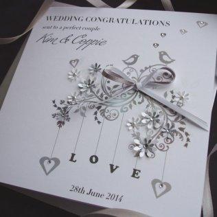 Handmade Wedding Card Love Birds Handmade Cards Pink & Posh