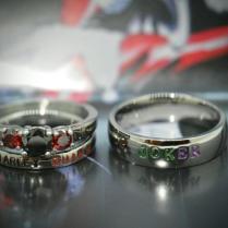 Harley Quinn And Joker Rings, Black Diamond Cz And Garnet Cz