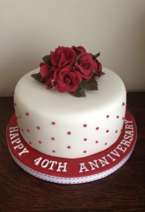 Hearts And Flowers 40th Wedding Anniversary Cake Ruby Wedding