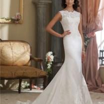 High Neck V Back Silk Satin Lace Wedding Dress