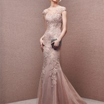 Illusion Neckline Backless Cap Sleeve Dusty Rose Lace Formal