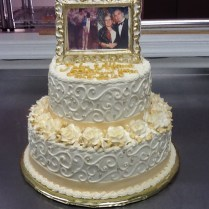 Ivory And Gold 50th Wedding Anniversary Cake Topper Is A White