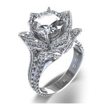 Large Blossoming Flower Diamond Ring In 14k White Gold