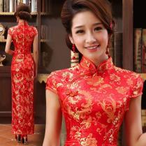 Mandarin Collar Gold Red Long Traditional Chinese Wedding Dress