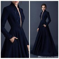 Navy Blue Beaded Wedding Dresses Embrodiery Paolo Sebastian 2015