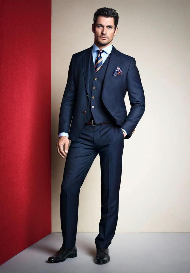 Navy Blue Ivory Tuxedos For Wedding Groom Suits 2015 Peak Lapel