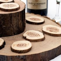 Personalised Wedding Favours Small Rustic Log Slices Vintage