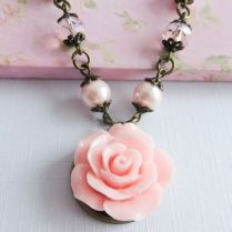 Pink Flower Necklace, Bridesmaid Jewelry, Pink Rose Necklaces
