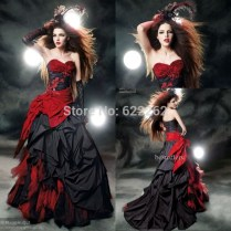 Popular Black And Red Wedding Dress