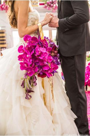 Purple Orchids Wedding Bouquet With Ribbon 2037493