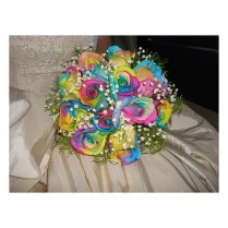 Rainbow Rose Silk Wedding Bouquet