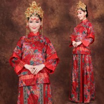 Red Floral Cotton Traditional Chinese Wedding Dress Xiuhe Costumes