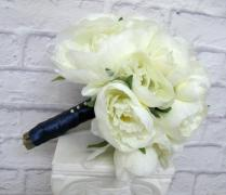 Romantic Peony Wedding Bouquet Cream Navy Bridal Bouquet Silk