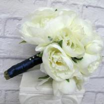 Romantic Peony Wedding Bouquet Cream Navy Bridal Bouquet Silk