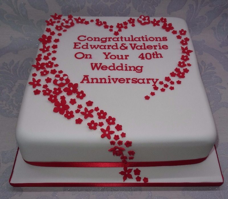 Cake Ideas For Wedding Anniversary: Cake For 40th Wedding Anniversary