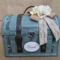 Rustic Aqua Wedding Trunk, Wedding Card Holder, Wedding Card Box