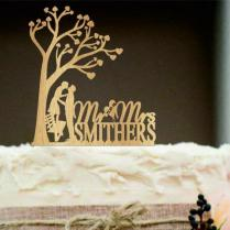 Rustic Wedding Cake Topper, Personalized Wedding Cake Topper