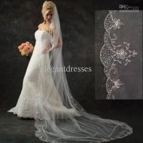 Scallop Edge Pattern Of Beaded Sequin Embroidery Cathedral Wedding