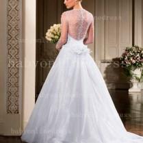See Through Long Sleeves Bridal Gowns Sweetheart Beading Handmade
