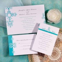 Simple Tiffany Blue Damask Brides Inexpensive Wedding Invitation