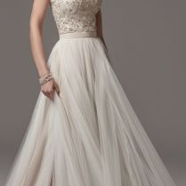 Spaghetti Strap Bead Embellished Bodice Tulle Skirt Wedding Dress
