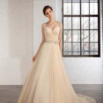 Spring Champagne Wedding Dresses Capped Bridal Ball Gown With