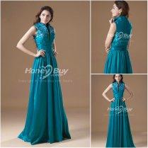 Stand Up Collar Floor Length Teal Wedding Reception Dress