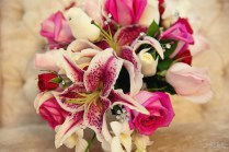 Stargazer Lily And Rose Wedding Bouquet