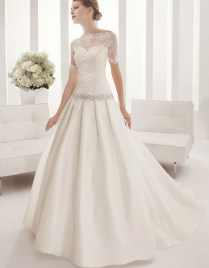 Strapless Trumpet Draped Low Back Pleated Satin Wedding Dress