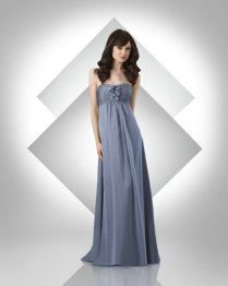 Sweetheart Ruched Long Elegant Strapless Silver Bridesmaid Dresses