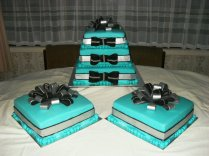 Teal, Silver And Black Wedding Cake