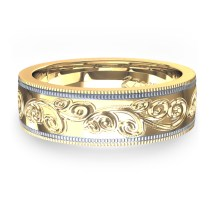 Toned Hand Engraved Wedding Ring In 14k Yellow & White Gold