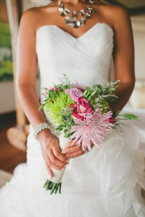 Tropical Pink And Green Wedding Bouquet