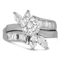 Unique Round And Marquise Cut Wedding Ring Set For Her