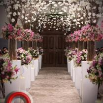 Wedding Aisle Decorated With Pink And White Flowers 2040430