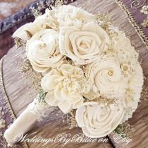 Weddings, Champagne Ivory Sola Bouquet, Wedding Flowers, Rustic