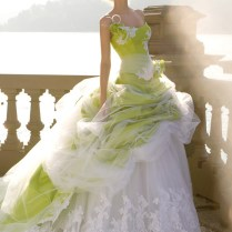 White Wedding Dresses With Green