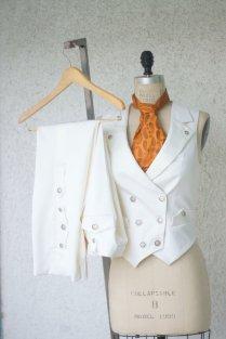 White Wedding Suita Women's Steampunk Vest Tuxedo By Vigilantelabs