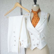 White Wedding Suita Women's Steampunk Vest Tuxedo By Vigilantelabs