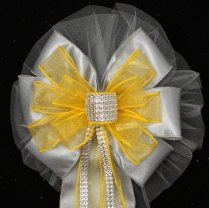 Yellow Bling Gray Wedding Pew Bows Church By Packageperfectbows