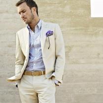 2015 Beige Summer Linen Men Suits Wedding Suits For Men Notched