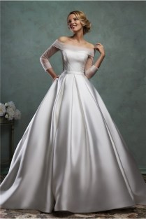 Ball Gown Off The Shoulder Satin Tulle Sleeve Wedding Dress With Belt