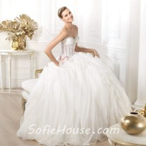 Ball Gown Sweetheart Sheer See Through Lace Organza Corset Wedding