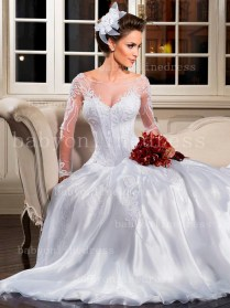 Beautiful Wedding Dresses On Sale See Through Long Sleeves Lace