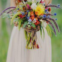 Bridal Bouquet With Blue Thistle, Rattail Status, Dahlias