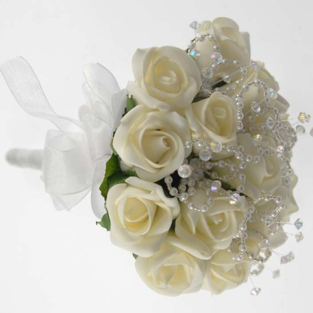 Brides Petite Ivory Rose & Crystal Wedding Posy Bouquet