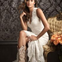 Country Style Wedding Dress With Cowboy Boots