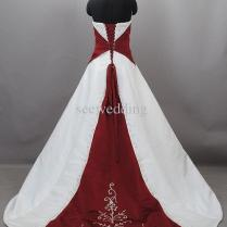 Custom 2015 Burgundy And White Wedding Dresses Vintage Strapless