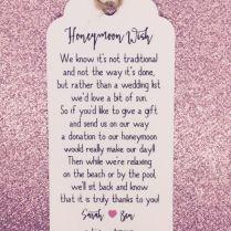 Details About Personalised Wedding Honeymoon Money Request Poem